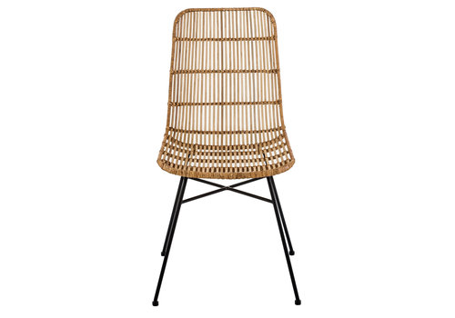 Fine Asianliving Dining Chair Rattan Wicker Weaved Metal Frame 48x58xH88cm