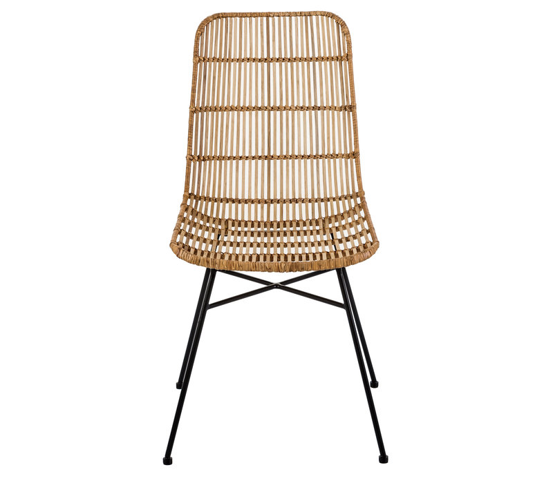 Dining Chair Rattan Wicker Weaved Metal Frame 48x58xH88cm