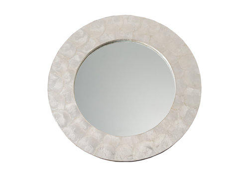 Fine Asianliving Round Wall Mirror Capiz Frame Handmade Mother-of-Pearl D61cm