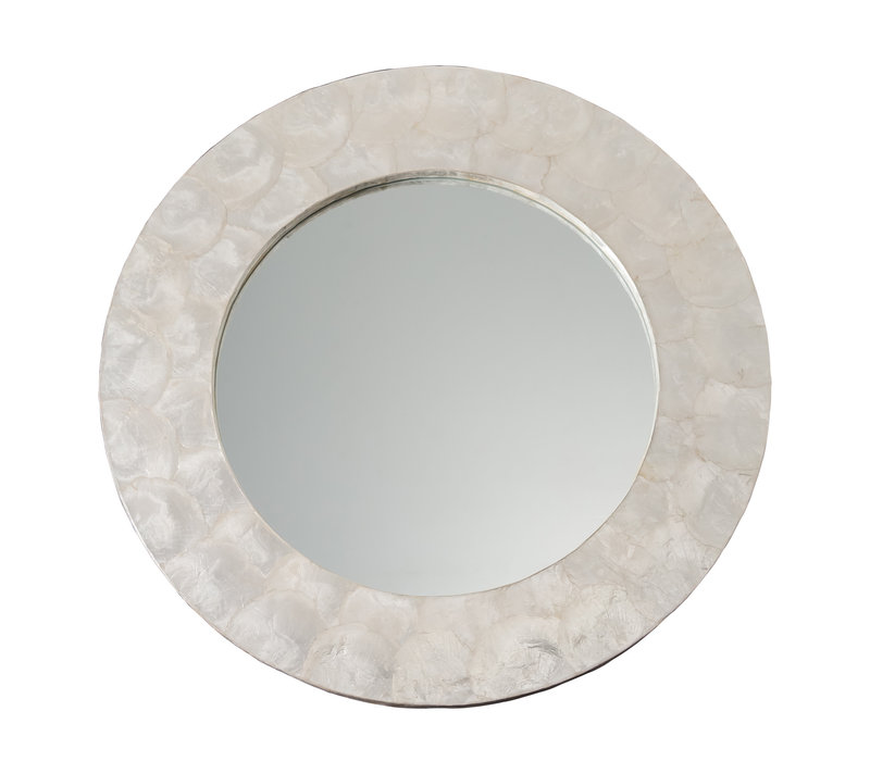 Round Wall Mirror Capiz Frame Handmade Mother-of-Pearl D61cm