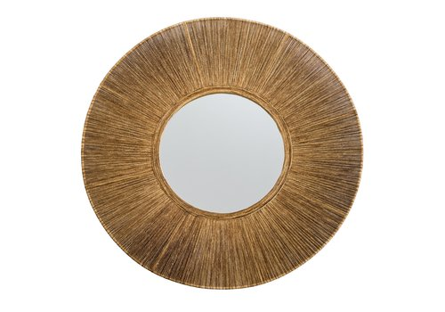 Fine Asianliving Round Wall Mirror Paper Rope Frame Handweaved D70x6.2cm Thick