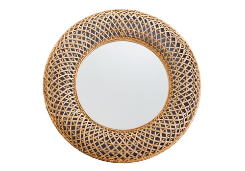Fine Asianliving Round Wall Mirror Buri Frame Handweaved D70x6cm Thick