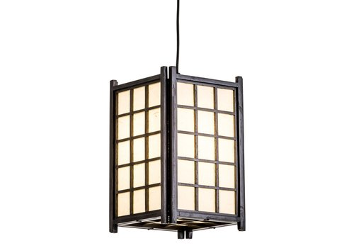 Fine Asianliving Suspension Japonaise en Bois Shoji Papier de Riz Noir - Dofu L20.5xP20.5xH31cm