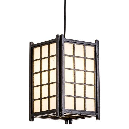 Japanse Hanglamp Rijstpapier Shoji Hout Dofu Zwart W20.5xD20.5xH31cm