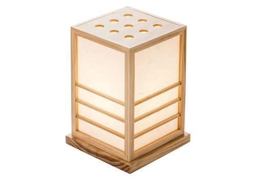 Fine Asianliving Lampada da Tavolo Giapponese in Legno e Carta Shoji Naturale - Miyazaki L20xP20xA28cm