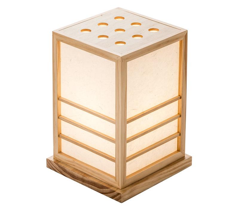 Lampe à Poser Japonaise en Bois Shoji Papier de Riz Naturel L20xP20xH28cm Miyazaki