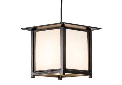 Fine Asianliving Japanese Hanging Lamp Shoji Rice Paper Wood Akida Black W24xD24xH21cm