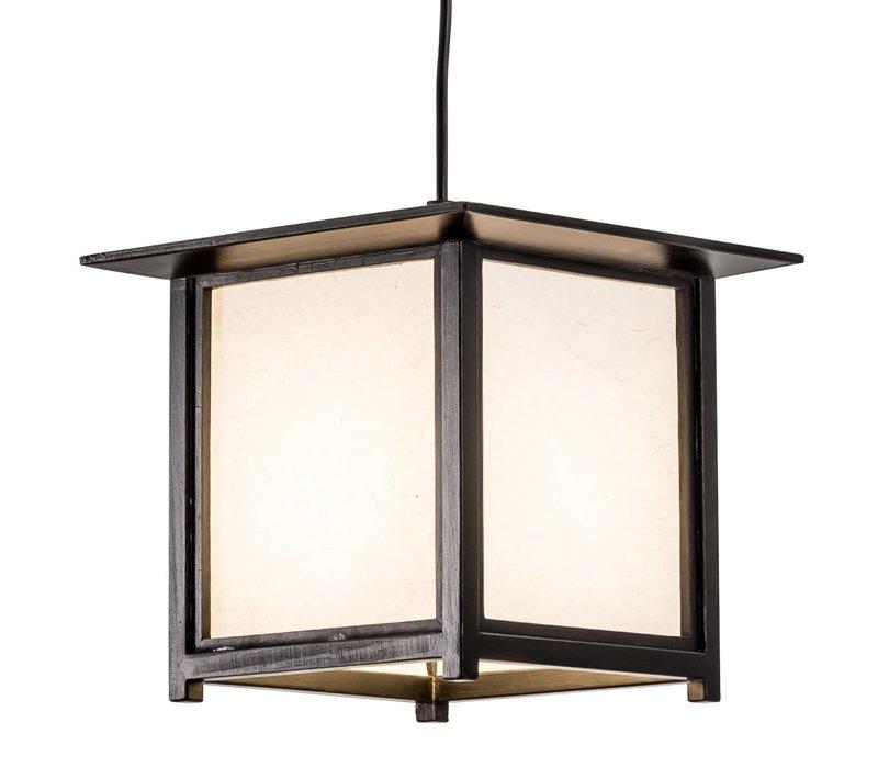 Japanese Hanging Lamp Shoji Rice Paper Wood Black - Akida W24xD24xH21cm