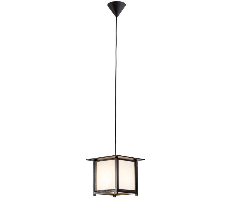 Japanese Hanging Lamp Shoji Rice Paper Wood Akida Black W24xD24xH21cm