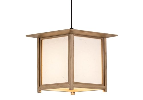 Fine Asianliving Japanese Hanging Lamp Shoji Rice Paper Wood Akida Natural W24xD24xH21cm