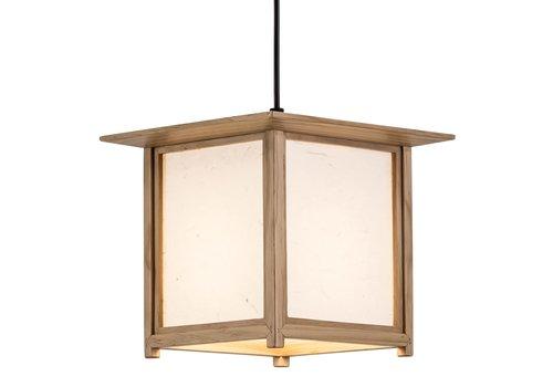 Fine Asianliving Lámpara de Techo Japonés de Madera y Papel de Arroz Natural - Akida A24xP24xA21cm