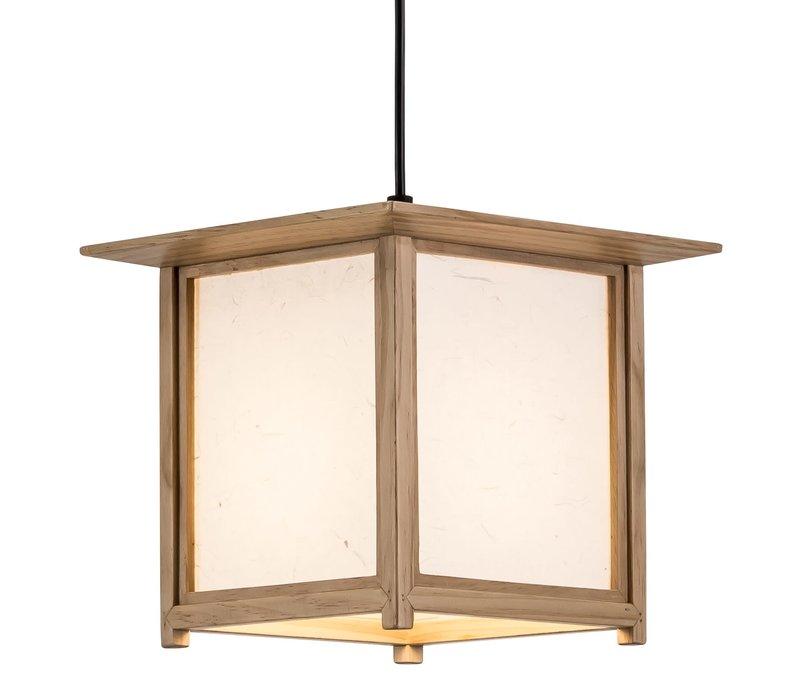Japanse Hanglamp Shoji Rijstpapier Hout Naturel - Akida B24xD24xH21cm