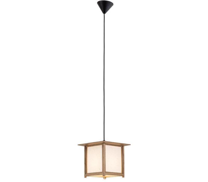 Lámpara de Techo Japonés de Madera y Papel de Arroz Natural - Akida - Anch.24 x Prof.24 x Alt.21 cm