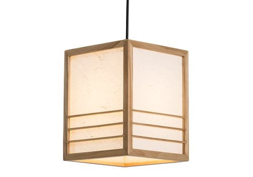 Fine Asianliving Japanese Lamp Shoji Rice Paper Wood Nikko Natural W20xD20xH25.5cm