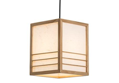 Fine Asianliving Lampada a Sospensione Giapponese di Legno e Carta Shoji Naturale - Nikko L20xP20xA25.5cm