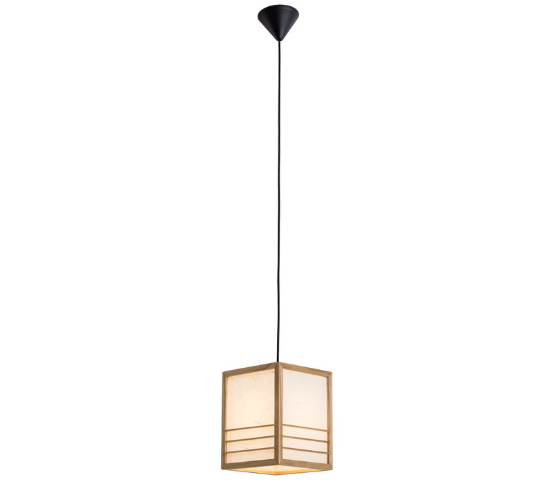 Japanse Hanglamp Shoji Rijstpapier Hout Naturel - Nikko B20xD20xH25.5cm
