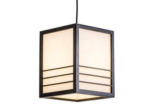 Fine Asianliving Lámpara de Techo Japonés de Madera y Papel de Arroz Negra - Nikko A20xP20xA25.5cm