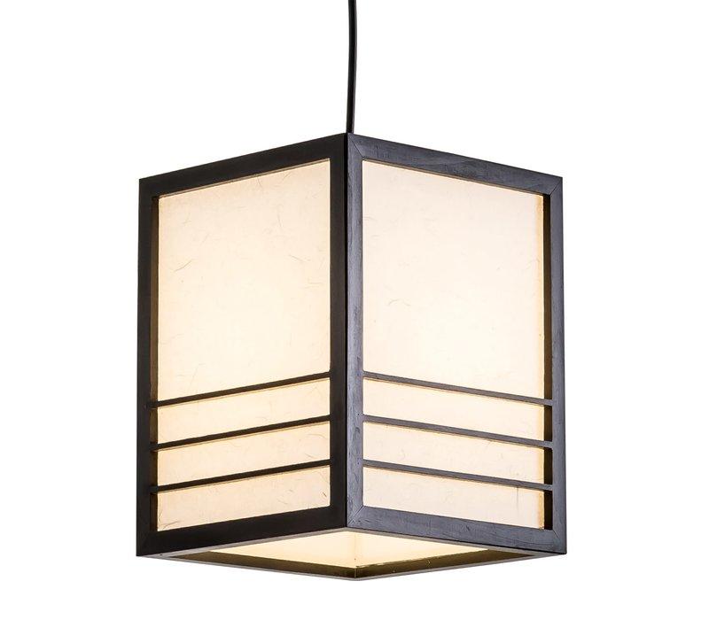 Lámpara de Techo Japonés de Madera y Papel de Arroz Negro - Nikko - Anch.20 x Prof.20 x Alt.25.5 cm
