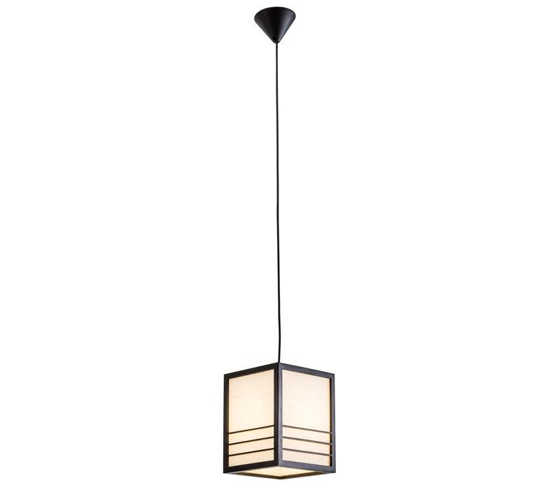 Japanse Lamp Shoji Rijstpapier Hout Nikko Zwart B20xD20xH25.5cm