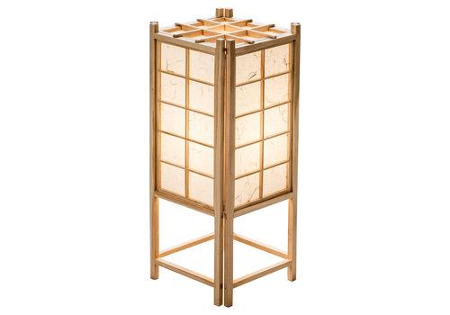Fine Asianliving Lampada da Tavolo Giapponese in Legno e Carta Shoji Naturale - Tatamilite L19xP19xA45.5cm