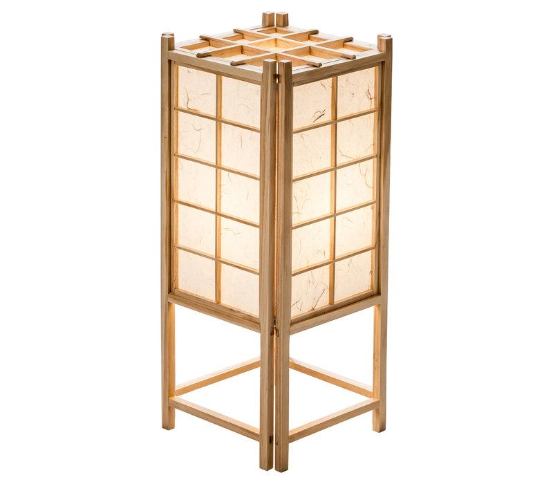 Japanische Lampe Holz und Shoji Reispapier Tatamilite Natur B19xT19xH45.5cm
