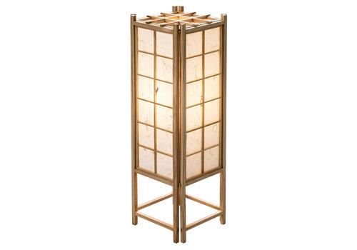 Fine Asianliving Lampada da Tavolo Giapponese in Legno e Carta Shoji Naturale Grande - Tatamilite L19xP19xA58cm