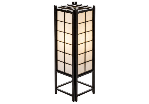 Fine Asianliving Japanese Lamp Shoji Rice Paper Wood Tatamilite Black Large W19xD19xH58cm