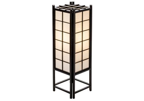 Fine Asianliving Lampada da Tavolo Giapponese in Legno e Carta Shoji Nera Grande - Tatamilite L19xP19xA58cm