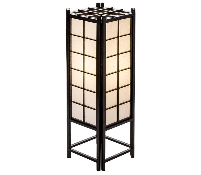 Lampada da Tavolo Giapponese in Legno e Carta Shoji Nera Grande - Tatamilite L19xP19xA58cm