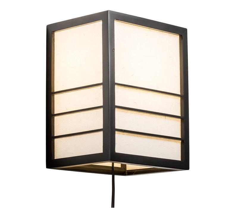 Japanische Wandleuchte Holz und Shoji Reispapier Schwarz - Nikko - B20xT15xH25cm