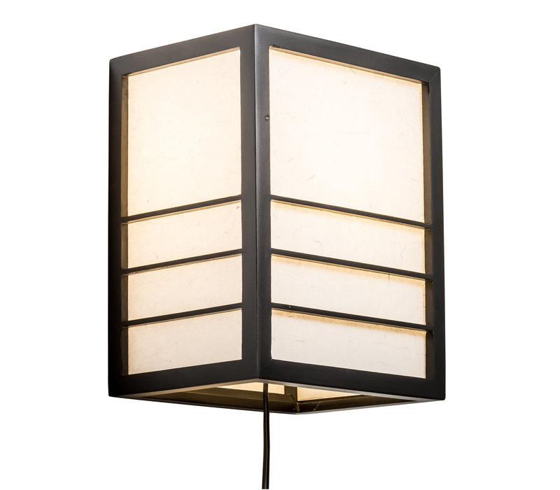 Lampada da Parete Giapponese in Legno e Carta Shoji Nera - Nikko L20xP15xA25cm