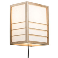 Japanische Wandleuchte Holz und Shoji Reispapier Natur - Nikko B20xT15xH25cm