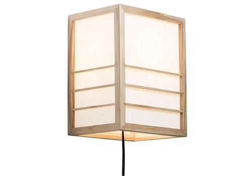 Fine Asianliving Japanse Wandlamp Shoji Rijstpapier Hout Nikko Naturel B20xD15xH25cm