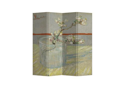Fine Asianliving Biombo Separador de Lienzo 4 Paneles Van Gogh Rama de Almendro en Flor en Vaso Anch.160 x Alt.180 cm