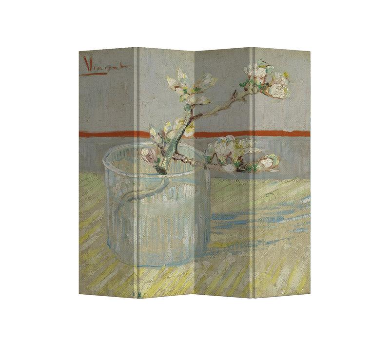 Paravento Divisori in Tela L160xA180cm 4 Pannelli Van Gogh Ramo di Mandorlo in Fiore in un Bicchiere