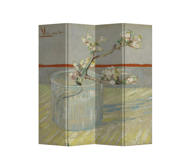 Room Divider Privacy Screen 4 Panels W160xH180cm Van Gogh Blossoming Almond Branch in a Glass 1889