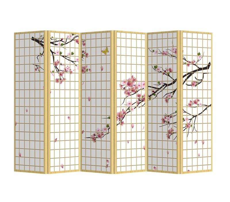 Room Divider Privacy Screen L240xH180cm 6 Panel Sakura