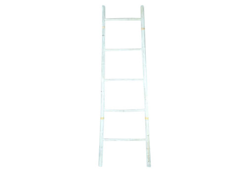 Fine Asianliving Bamboe Ladder Wit 45x150cm Handgemaakt in Thailand