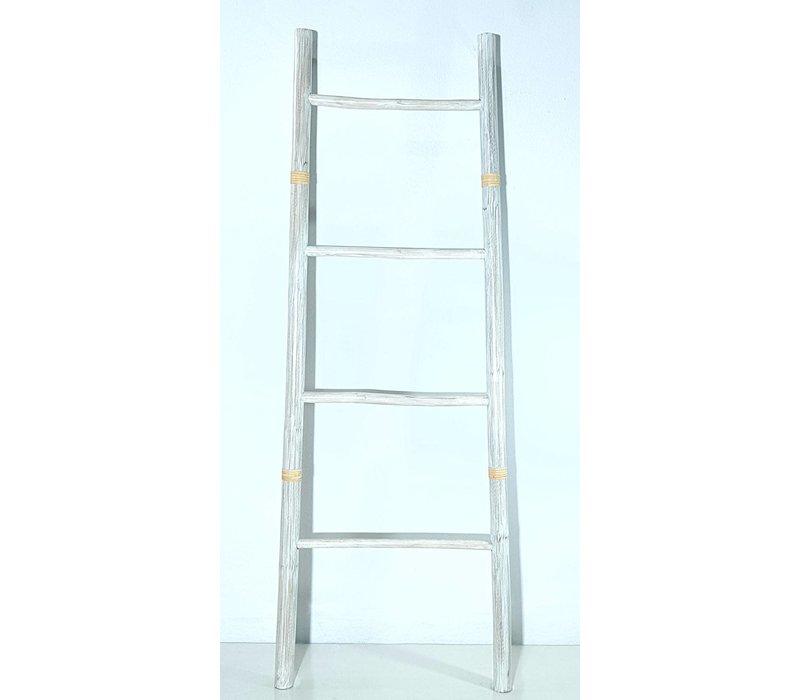 Bamboe Ladder Wit 45x150cm Handgemaakt in Thailand