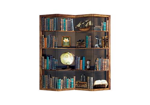 Fine Asianliving Paravent Raumteiler Trennwand 4-teilig Bücherregal Globus B160xH180cm