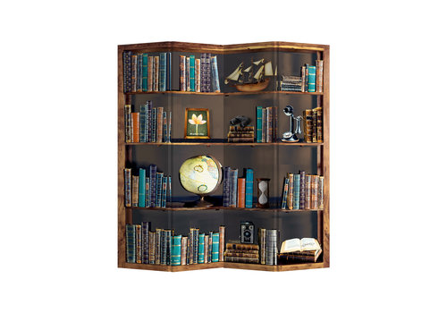 Fine Asianliving Raumteiler Trennwand B160xH180cm 4-teilig Bücherregal Globus