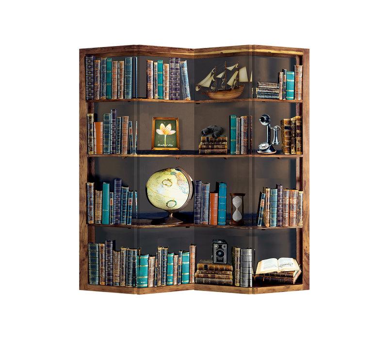 Room Divider Privacy Screen L160xH180cm 4 Panel Bookcase Globe