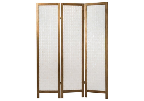 Fine Asianliving Biombo Separador de Concha de Capiz Hecho a Mano 3 Paneles Anch.45 x Prof.3 x Alt.180 cm