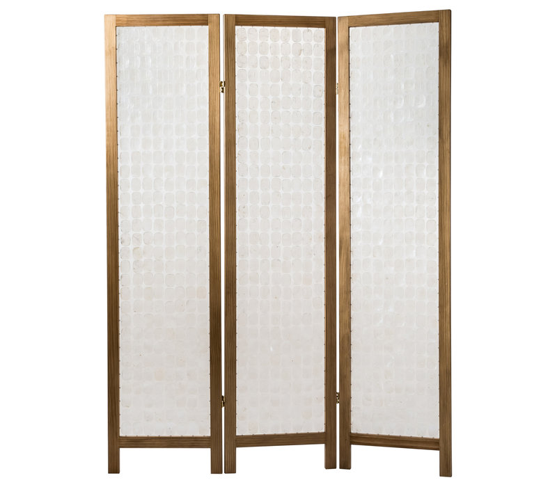 Biombo Separador de Concha de Capiz Hecho a Mano 3 Paneles Anch.45 x Prof.3 x Alt.180 cm