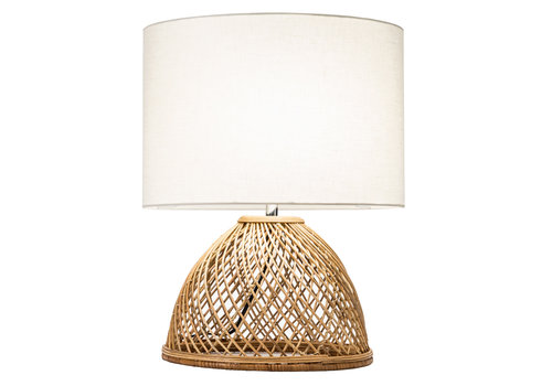 Fine Asianliving Table Lamp Wicker Weaved with Jute Shade D30xH54cm