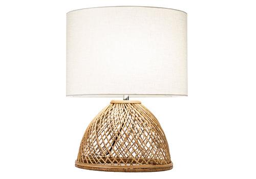 Fine Asianliving Tafellamp Wicker Handgevlochten met Jute Lampenkap D30xH54cm