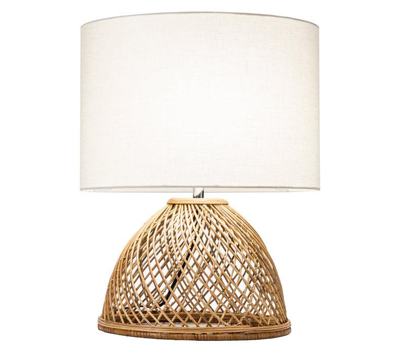 Lámpara de Mesa de Mimbre Tejida con Pantalla de Yute D.30 x Alt.54 cm