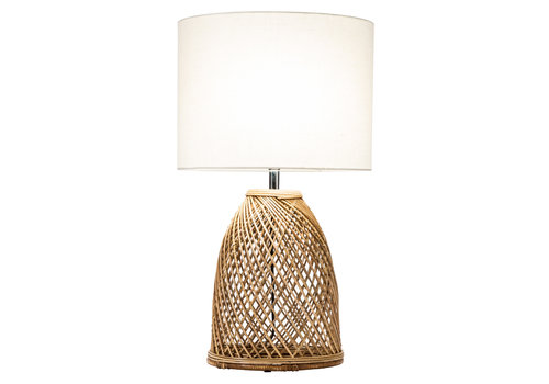Fine Asianliving Table Lamp Wicker Weaved with Jute Shade D35xH54cm
