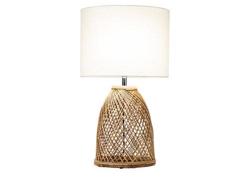 Fine Asianliving Tafellamp Wicker Handgevlochten met Jute Lampenkap D35xH54cm