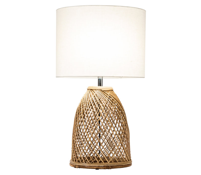 Table Lamp Wicker Weaved with Jute Shade D35xH54cm